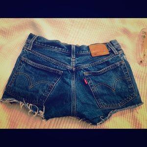 Levi's 501 shorts in blue indigo
